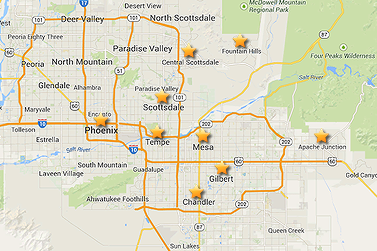 Arizona Rose & Flower Company Delivery Areas